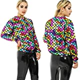 Fashion Plus Chaqueta Bomber para Mujer, diseño de Sirena, Color arcoíris Arco Iris 44 ES/46 ES/XL