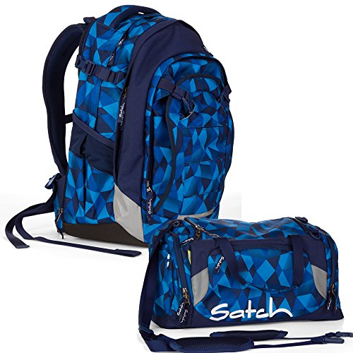 satch Match by Ergobag: 2-teiliges Set Blue Crush Blau Polygon Rucksack & Sporttasche - Der Ganztagsbegleiter: Rucksack wächst mit bis ca. 1,90m Körpergröße