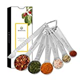 Measuring Spoons Stainless Steel Tablespoon Measure Spoon with Leveler Baking Tool Set of 6 includes: 1/8 tsp, 1/4 tsp, 1 tsp, 1/2 tbsp, 1 tbsp