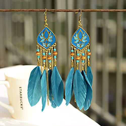 Vintage elegantes pendientes que fluyen pendientes de las mujeres Vintage gota aceite Lotus largo plumabohemia pendientes Lago Azul