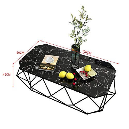 Axdwfd bijzettafel ijzer Mini creatief marmer salontafel woonkamer deluxe rechthoekige salontafel -100cm * 50cm * 45cm