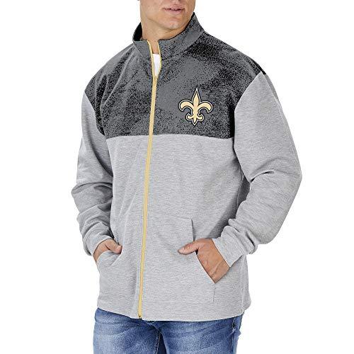 Zubaz NFL New Orleans Saints - Chaqueta deportiva con cremallera completa para hombre, color gris, talla grande