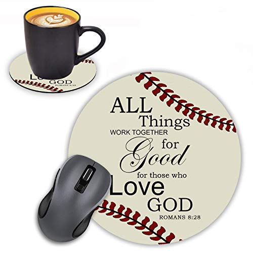 Log Zog Round Mouse Pad with Coasters Set, Softball Surface Quotes Christian Bible Verse Romans 8:28 Design Mousepad Non-Slip Rubber Gaming Mouse Pad for Computers Laptop