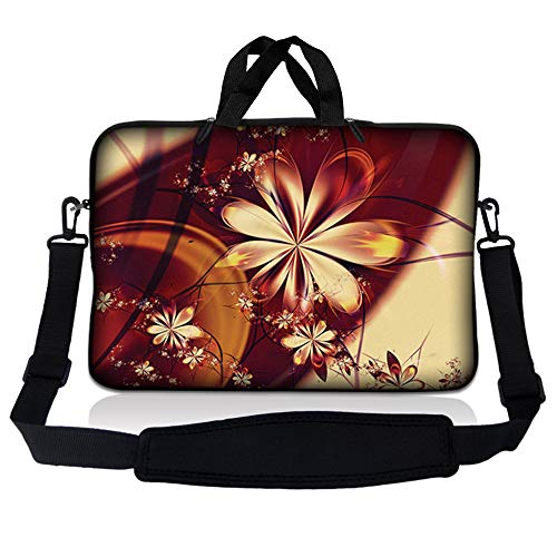 LSS 15.6 inch Laptop Sleeve Bag Compatible with Acer, Asus, Dell, HP, Sony, MacBook and more | Carrying Case Pouch w/ Handle & Adjustable Shoulder Strap,Gold Flower Florall