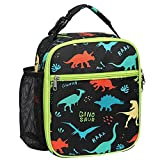 Lunch Box, Bagseri Kids Insulated Lunch Box Bag for Girls, Portable Reusable Toddler Lunch Cooler Bag for School, Water-resistant Lining(Black & Dinosaur)