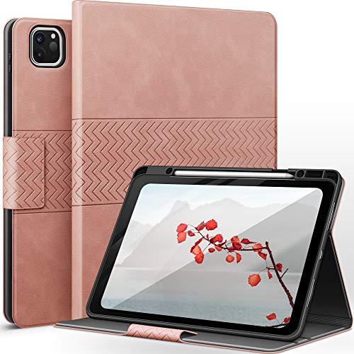 AUAUA Hülle für iPad Pro 12.9 2021(5.Generation)/2020 (4.Generation) / 2018 (3. Generation) mit Stifthalter, Auto Schlaf/Aufwach Funktion, PU lederhülle (Rosa)