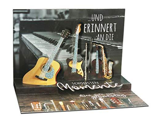 3D Pop – UP Karte Geburtstag, mit Glitter, Geburtstagskarte 3D, POP - UP Karten, POP UP Karten Geburtstag, Motiv: Gitarre