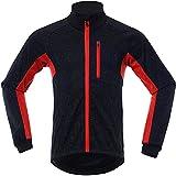 Chaqueta Térmico Ciclismo Bicicleta Running Deportes a Prueba de Viento para Hombres Mujeres, Ropa Reflectante Deportiva (Rojo,XXL)