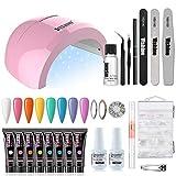 Vishine Kit Complet Poly Nail UV Gel, 8 Extension Builder Gel Couleur Bonbon, 48W Lampe UV LED Embellissement des ongles Poly Gel, Vernis Gel Faux Ongle Base Top...