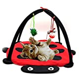 Patgoal Cat Mobile Activity Play Mat Pet Padded Bed with Hanging Toys Bells Balls and Mice (A)