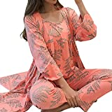 QINAG Las Mujeres Pijamas de satén 3 Piezas Ropa de Noche de Seda Pijama Inicio Inicio Desgaste Bordado de la Ropa del sueño Salón Pijama Pijamas Set (Color : 8, Size : L)