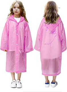 VCOSTORE Kids Rain Coat, Colored Rain Poncho Wrinkle Free Rainwear for Boys Girls Age 6-12