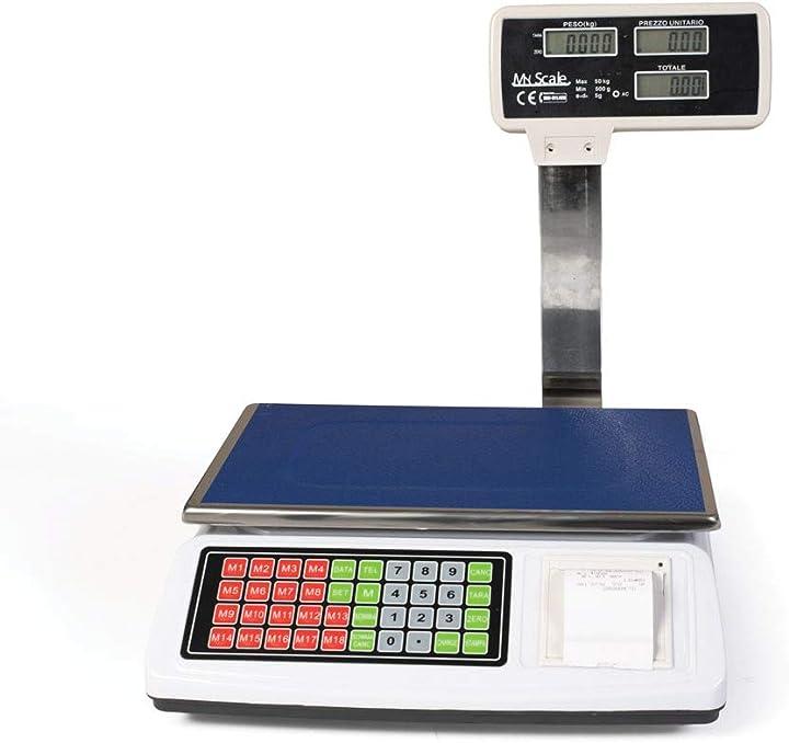 Bilancia da banco con scontrino elettronica portata 50kg stampa ricevuta e memoria prodotto by jhonsorr ACS-P02