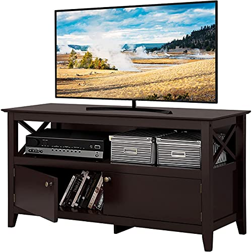 Yaheetech X Shape Wooden TV Stand for TVs Up to 50 in, Base Console Storage Cabinet Home Media Entertainment Center with 2 Storage Doors Living Room Furniture, Farmhouse TV Storage Console, Espresso