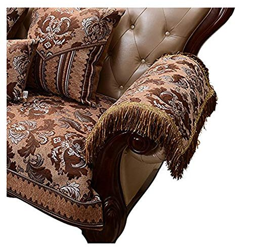 Sideli Luxury Chenille Jacquard Armrest Cover for Chair Couch Sofa Anti-Slip Furniture Protector(2pc-20x24-sofa arm Cover,Light Coffee)