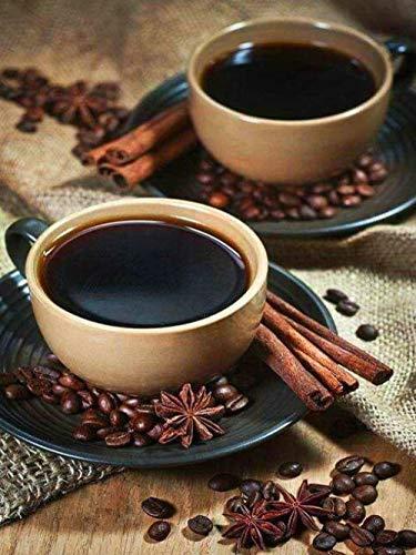 Verf op nummer Kit Twee kopjes koffie doe-het-zelf olieverfverf door nummers Kit voor volwassenen Beginner, Op Canvas Kleurrijke Schilderij16X20Inch.40 * 50Cm