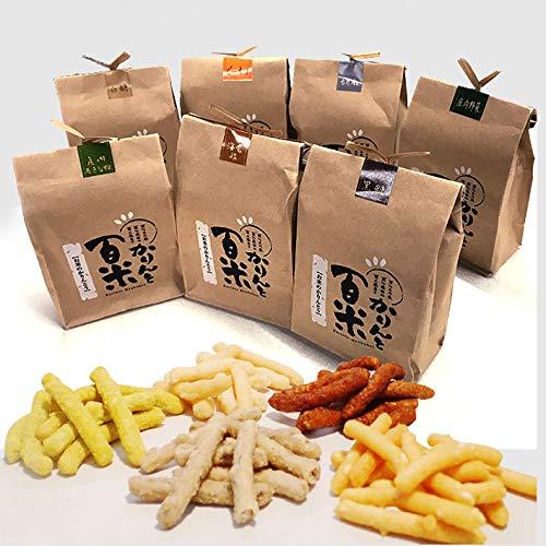 庄内米粉かりんとう かりんと百米(ひゃくべい)7個セット(黒糖、ピーナッツ、胡麻、庄内青きな粉、海老塩,野菜、白糖)88g×7袋入