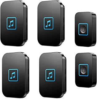 Wireless Doorbell, IP44 Waterproof Door Bell Chime Kit with LED Flash,2 Push Button And 4 Receivers,Special Design,300M Ra...