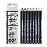 ATARSM Art Pencils Set-14Pcs / Set 6H-12B Juego de lápices de Dibujo Profesional Lápiz de Dibujo de Artista