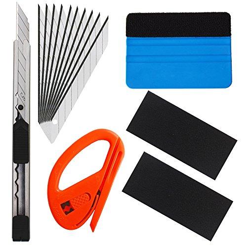 Gebildet 6 in 1 High-End-Werkzeugset für Autofolie/Tönungsfolie/Sonnenschutzfolie Installation mit Faserrand Rakel, Snitty Cutter, Utility Messer