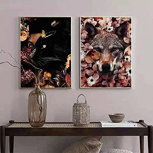 ZHJJD Tigre Pantera Estilo nórdico Creativo Animal Lindo Póster Pintura Minimalista Moderna Arte de la Pared Decoración del hogar Sofá Sala de Estar 50x70cmx2 Sin Marco