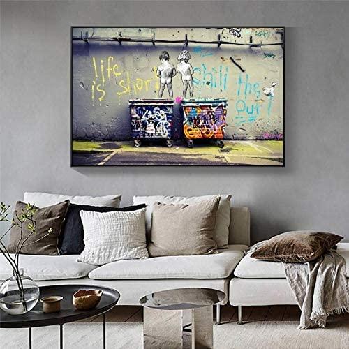 Lienzos Decorativos Banksy Graffiti Art Canvas Pintura Life Is Short Chill The Duck out Street Art Posters E Impresiones Cuadros De Pared Decoracion del Hogar 50x70cm x1 Sin Marco