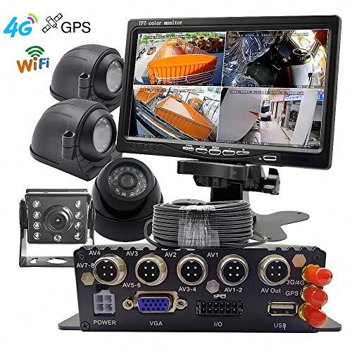 """7/"""" LCD-Monitor 4CH 720P Auto LKW DVR Videorecorder 4 CCD-Nachtsichtkameras"""