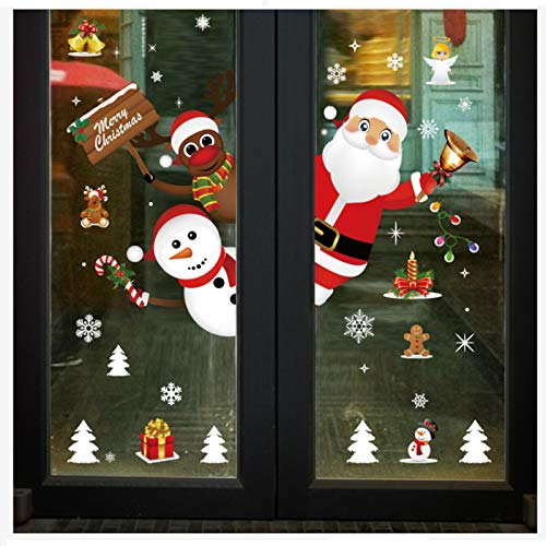 JHFUH Christmas Santa Claus Snowman Snowflake Ornaments Decals Christmas Snowflake Window Decal Stickers Party Supplie Window Stickers Door Stickers