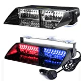 KKmoon Feux d'avertissement à l'intérieur des Voitures, Feux de Détresse 16 LED 18 Modes de Clignotement, pour Voiture, Camion (Rouge et Bleu)