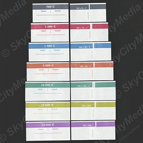 Banderolen Set für Euro Geldscheine je 10x (5 €, 10 €, 20 €, 50 €, 100 € Banderole) + 3x (200 € & 500 € Banderole) Geldbanderole Papier für Geldbündel Fassungsvermögen je 100 Scheine