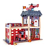 Hape Fire Station Playset| Wooden Dollhouse Kid's Toy, Stimulates Key Motor Skills And Promotes Team Play (E3023) Multicolor, L: 23.6, W: 11.8, H: 18.8 inch