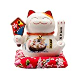maneki neko fortuna gatto che saluta lucky cat waving moving arm,bianca l16*w14*h16cm, a
