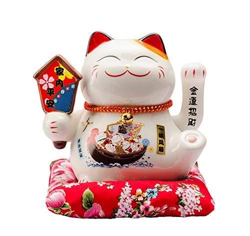 Maneki Neko Porcelana Gato de la Suerte Afortunado Gato agitando el Brazo Waving Arm Lucky bendición,Blanco L16*W14*H16cm, A