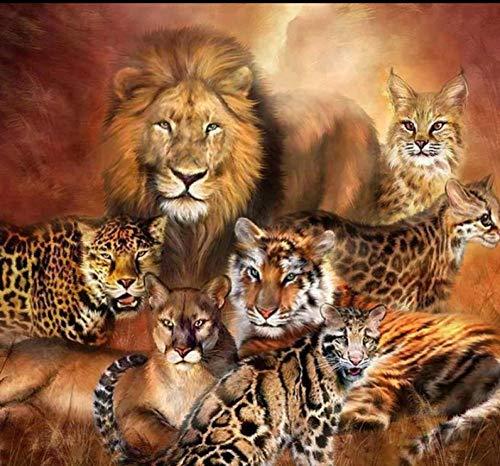 Lion 5d Diamond Painting Kit Full Drill DIY Animal Lion Tiger 3D Rhinestone Embroidery Cross Stitch Home Decor Gift@60x75cm