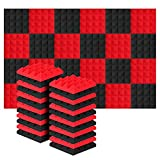 Acolchado Insonorizado, AGPtEK 24 Paquetes de Espuma Insonorizadora 25x25x5CM Paneles de Espuma Acústica, Ideales para Grabar en Estudios, Salas de TV, Habitaciones de Niños, 12 Negro, 12 Rojo