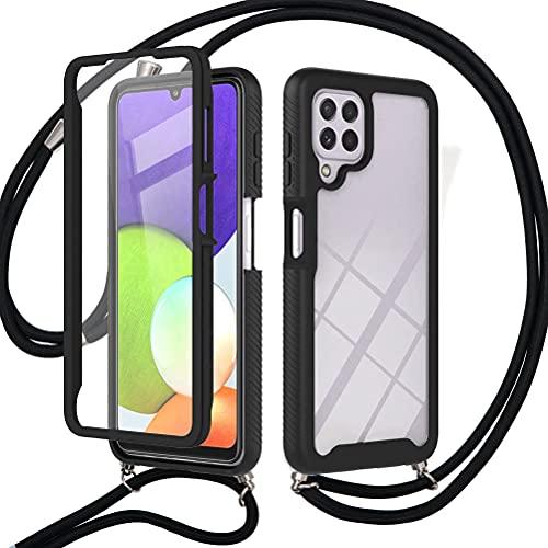 Pnakqil Funda con Cordón de Collar Compatible con Samsung Galaxy A22 4G 6.4', Anti- Arañazos Antigolpes 360°Carcasa Transparente para Samsung A22 4G Anti-Choque Negro Bumper -Negro