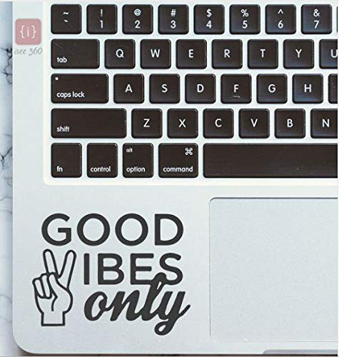 ISEE 360® Good Vibes Only Laptop Quotes Stickers for Laptop Skin 14, 12,15.6,15 Inches and All Models Vinyl Decals (Black) (L x H 6 x 5 cm)