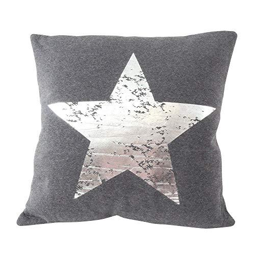 CB Home & Style Dekokissen Sterne 45 x 45 cm Dunkelgrau-Silber