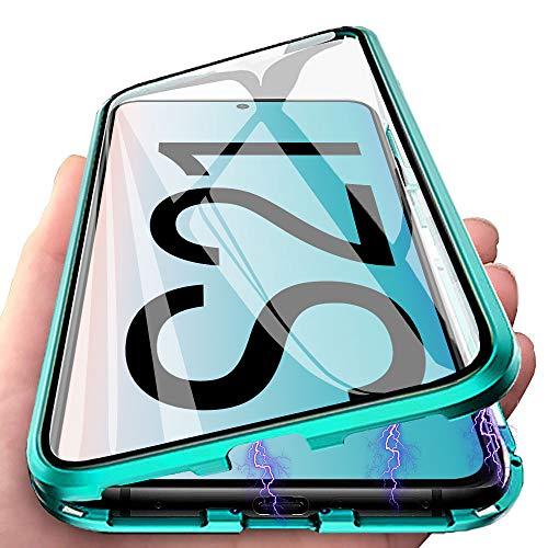 per Samsung Galaxy S21 Cover, Adsorbimento Magnetica Custodia, E-Lush Caso 360 Gradi Protezione Anteriore e Posteriore Vetro Temperato Cover Trasparente Custodia Flip Case Metal Bumper, Verde