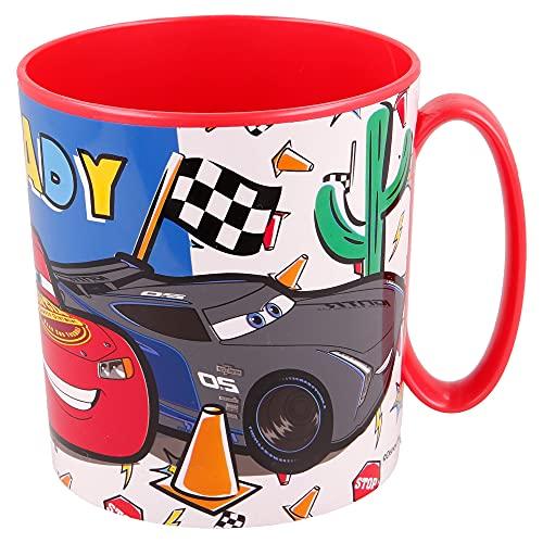 CARS   Taza para niños y niñas con diseño de personajes - 350 ml   Taza infantil de plástico para microondas - Libre de BPA