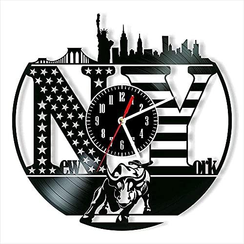 El Reloj de Pared con Disco de Vinilo de Nueva York Ofrece decoración Hechos a Mano para Hombres, Mujeres, Amigos y niños.