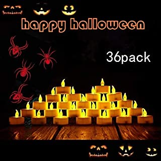 TEECOO 36pcs Flameless Tea Lights Candles, Flickering LED Tea Light Candles, Long Lasting Battery Operated Fake Candles-Decoration for Party, Halloween
