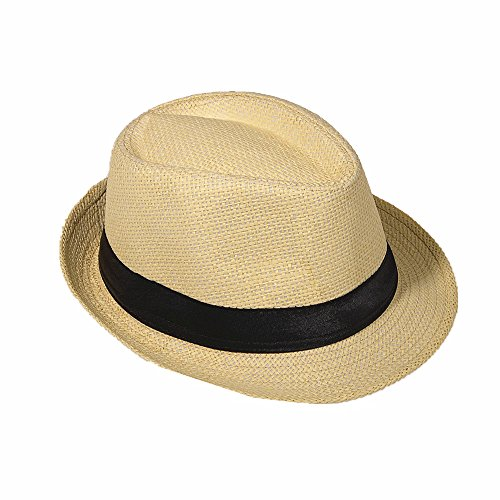 Strohhut Panama Fedora Trilby Gangster Hut Sonnenhut mit Stoffband Farbe:-Beige (Strohhut) Gr:-58