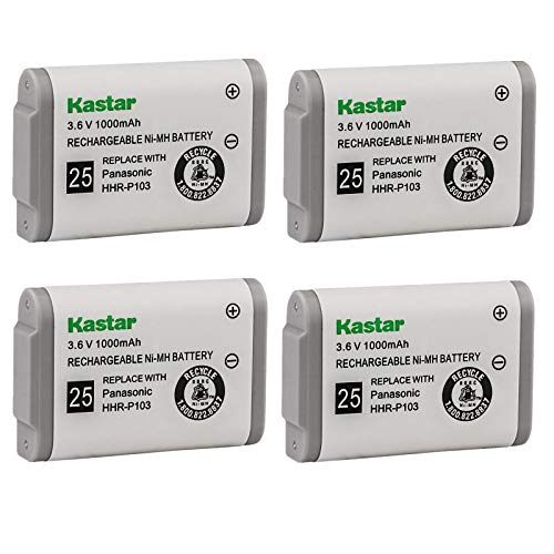 Kastar 4-Pack Cordless Phone Battery Replacement for Panasonic HHR-P103 KX-TG2352 KX-TG2382 KX-TG2383 KX-TG2720 KX-TGA273, Radio Shack 23-906 23-966 43-9004 43-9018, V-Tech 8004290000, Philips SJB4142