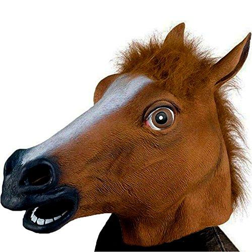 XIAO MO GU Mascherina Animale della Testa Unicorno della Gomma del Lattice, Mascherina della Decorazioni del Costume de Halloween Party (marrone)