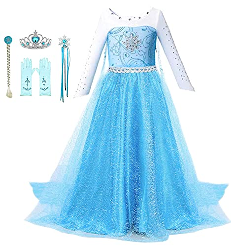 Bestier Princess Dress Costume for 2-10 Years Girls - Birthday Party Halloween Costume Cosplay Fancy Dress Up (Blue, 4-5Years)
