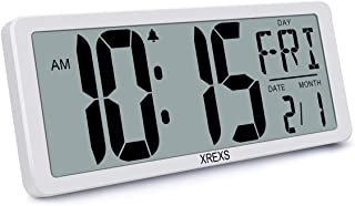 XREXS Large Digital Wall Clock, Electronic Alarm Clocks for Bedroom Home Decor, Count Up & Down Timer, 14.17 Inch Large LC...