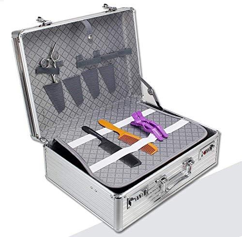 Herramientas portátiles de aluminio Barber Maleta caja de herramientas de peluquería, organizador del caso de contraseña de almacenamiento de Caja, Color: Plata Bolsas de herramientas de tijeras para