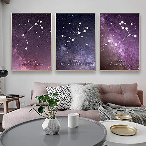 Sterrenbeeld sterrenbeeld sterren geometrische abstract canvas kamer decoratief schilderij HD kunst hangende schilderij vissen kreeft wim weegschaal 50x70cmx3 niet ingelijst