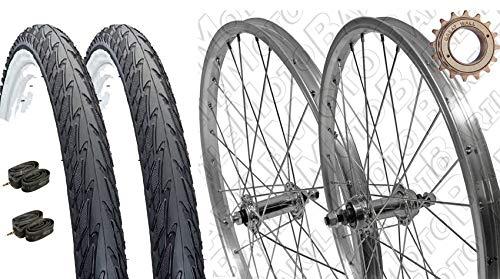 """Coppia Ruote Bici Olanda/GRAZIELLA 24"""" x 1.75 + PIGNONE Z18 + COPERTONI + CAMERE + Flap"""